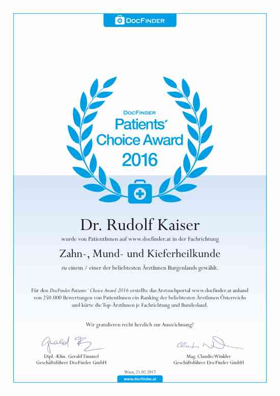 Patients' Choice Award 2016